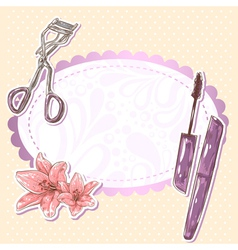 Beauty make-up mascara isolated card vector