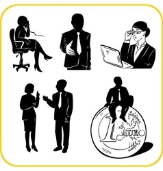 Managers and office set vector image
