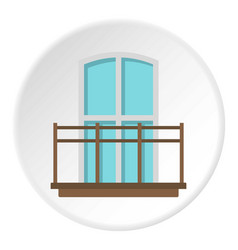 Balcony in french style icon circle vector