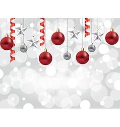 christmas white background balls stars vector image