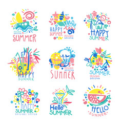 happy summer logo template original design set vector image