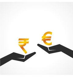 Hand hold rupee and euro symbol to compare vector
