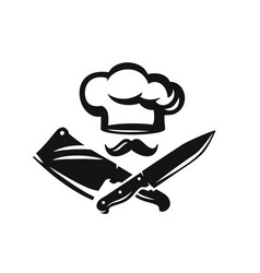 chef hat with kitchen knife vector image