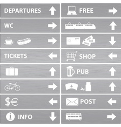 Various silver navigation signs eps10 vector
