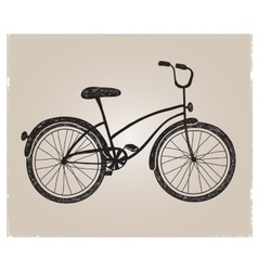Retro hand drawn bicycle silhouette isolated vector