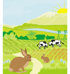 Cows and bunnies in green meadow vector