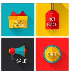 Sale and shopping advertising posters in flat vector