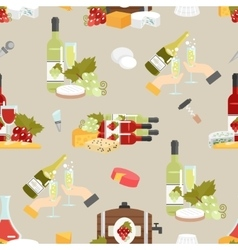 Cheese and wine decorative pattern vector