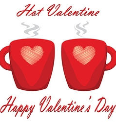 Valentine day couple of cups white background hot vector