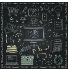 Business hand sketched icons on chalkboard vector