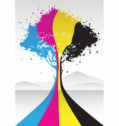 CMYK tree vector image