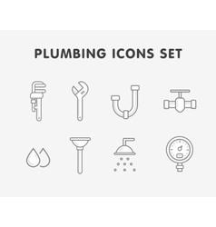 Plumbing flat line icons set vector