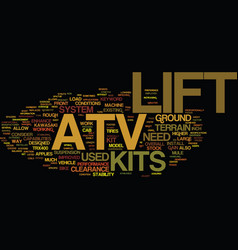 Atv lift kits text background word cloud concept vector