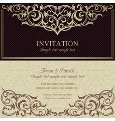 Baroque invitation dark brown and beige vector image vector image