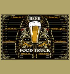 Beer food truck menu and logo vector