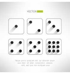 Black and white dice icons set in modern flat vector image