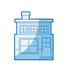 Blue shading silhouette house of two floors and vector