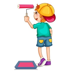 Boy painting the wall pink vector