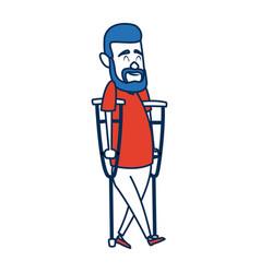 Cartoon man disability walking on crutches vector