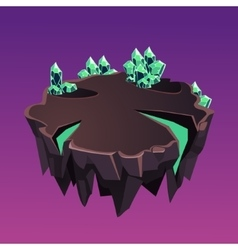 Cartoon Stone Isometric Island with Crystals for vector image
