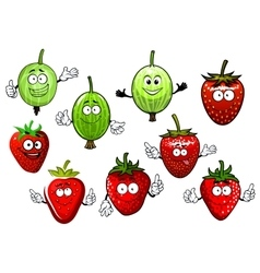 Cartoon strawberry and gooseberry fruits vector