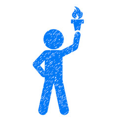 Child with freedom torch grunge icon vector
