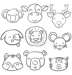 collection animal head of doodle style vector image vector image