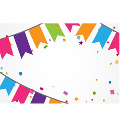 colorful confetti background with bunting flags vector image vector image