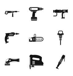 Electric tool icon set simple style vector