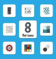 Flat icon play set of jigsaw multiplayer bones vector