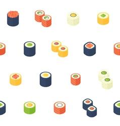 Flat isometric sushi seamless pattern vector image vector image