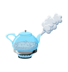 Glass kettle with boiling water and steam vector