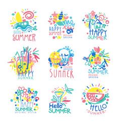 happy summer logo template original design set vector image vector image