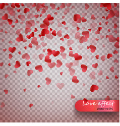 heart confetti of valentines petals falling on vector image vector image