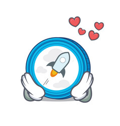 In love stellar coin character cartoon vector
