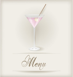 Menu template with martini vector image vector image