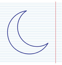 Moon sign navy line icon on vector