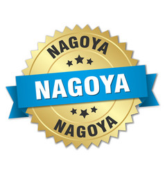 Nagoya round golden badge with blue ribbon vector