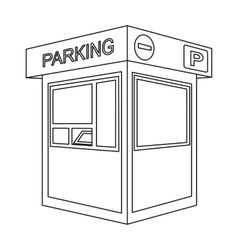 Parking toll booth icon in outline style isolated vector