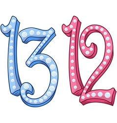 Pink blue shiny number 12 13 for bar bat mitzvah vector