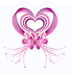 Pink Hearts and Orchids vector image