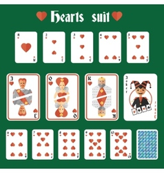 Playing cards hearts set vector