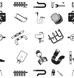 Plumbing pattern icons in black style big vector