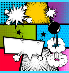 pop art strip comic text speech bubble bomb vector image