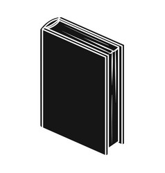 Purple standing book icon in black style isolated vector