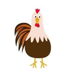 Rooster Cock bird Cute cartoon funny character vector image vector image