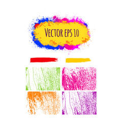 Set of abstract colorful brush strokes vector