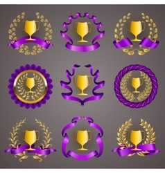 Set of luxury gold cups vector image vector image