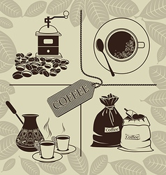 Set on a theme of coffee vector image vector image