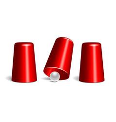Shell game three thimbles and ball vector